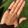 1.19ct Vintage Emerald Cut Diamond Onyx Ring, GIA E VS2 11