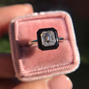 1.19ct Vintage Emerald Cut Diamond Onyx Ring, GIA E VS2 42