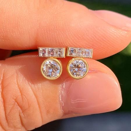 .78ctw Old European Cut Diamond and Carre Cut TBar Earrings