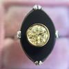 .81ct Fancy Yellow Old European Cut Diamond, Onyx Surround Setting 6