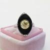 .81ct Fancy Yellow Old European Cut Diamond, Onyx Surround Setting 20
