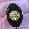 .81ct Fancy Yellow Old European Cut Diamond, Onyx Surround Setting 42