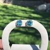 8.41ctw Blue Zircon Asscher Cut Bezel Earrings 7