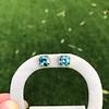 8.41ctw Blue Zircon Asscher Cut Bezel Earrings 14