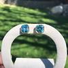 8.41ctw Blue Zircon Asscher Cut Bezel Earrings 8