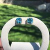 8.41ctw Blue Zircon Asscher Cut Bezel Earrings 9