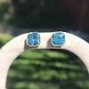 8.41ctw Blue Zircon Asscher Cut Bezel Earrings 4