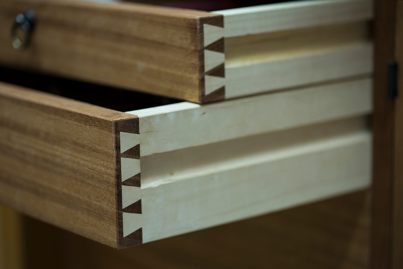 Detail of the hand-cut dovetails. I eyeball dovetails, I don't measure them out. You can see slight imperfections in the spacing if you really look, but overall the effect is very pleasing, and the time saved is worth it to me. I view certain aspects of woodworking in a similar fashion as I do marksmanship and graphic design—the trained human eye is capable of pretty amazing feats of accuracy, thanks to our Creator. I like the idea of training my eye to be as discerning as it's possible to be, and I think it's an often-neglected and important aspect in the development of a craftsman.