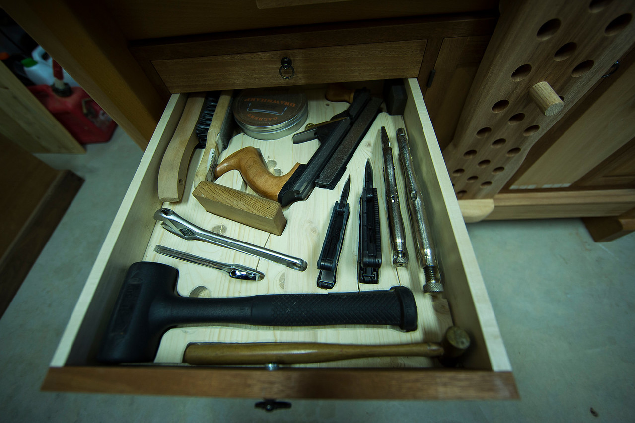 This drawer holds some of the tools I use daily, but  that for various reasons I didn't want to mount to the wall behind my work space. I chose to French-fit this particular drawer for the protection this method affords, and to prevent lost tools—when a space is unoccupied it's immediately apparent.