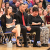 Ryan's Girlfriend Krista, Brother Brendan and Mom Robin listen as Ryan's Father Tom thanks everyone for celebrating Ryan's life with them at the Ryan O'Day Celebration of Life Ceremony on Wednesday @ Epping High School, Epping, NH on 4-15-2015.  Matt Parker Photos