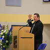 Paster Chris of the Next Level Church told a story and gave a prayer at the Ryan O'Day Celebration of Life Ceremony on Wednesday @ Epping High School, Epping, NH on 4-15-2015.  Matt Parker Photos