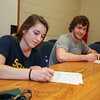 Winnacunnet Seniors Alison Hildreth signs a letter of intent to play Field Hockey with the Penmen of Southern NH University while Mike Lewis signs a letter of intent to play football with the Skyhawks of Stonehill college in the Fall of 2016 at signing day on 4-13-2016 @ WHS.  Matt Parker Photos