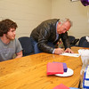 Mike Lewis co-signs his sons letter of intent to play football with the Skyhawks of Stonehill College in the Fall of 2016 at signing day on Wednesday 4-13-2016 @ WHS.  Matt Parker Photos