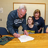 Alison Hildreth with her parents Chris and Cheryl sign Alison's  letter of intent to play Field Hockey with the Penmen of Southern NH University in the Fall of 2016 at signing day on 4-13-2016 @ WHS.  Matt Parker Photos