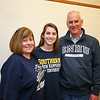 Alison Hildreth with her parents Cheryl  and Chris at WHS signing day where Alison signed a letter of intent to play Field Hockey with the Penmen of Southern NH University in the Fall of 2016 at signing day on 4-13-2016 @ WHS.  Matt Parker Photos