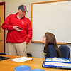 Jay Pinsonnault of the Hampton Union Newpaper interviews Winnacunnet Senior Alison Hildreth on her letter of intent signing to play Field Hockey with the Penmen of Southern NH University in the Fall of 2016 at signing day on 4-13-2016 @ WHS.  Matt Parker Photos