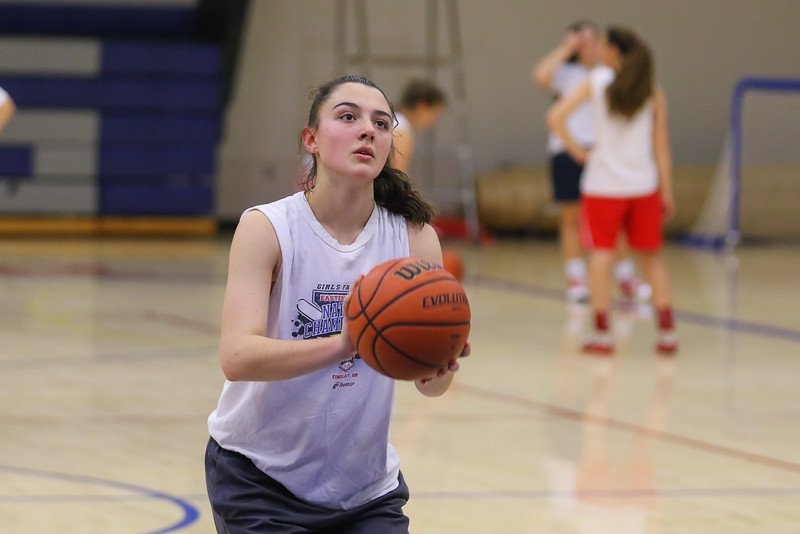 Winnacunnet Senior Casey Maggiore lines up a foul shot during Wednesday's Girls Basketball Tryouts at WHS on 12-2-2015.  Matt Parker Photos