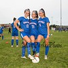 Winnacunnet Warriors Girls Soccer captains (L to R) #13 Serena Kollmorgen, #21 Kyle Arsenault and #6 Brenna Bushe pose for a photo prior to their home opener vs the Red Raiders of Spaulding High School on Friday 9-6-2019 @ WHS.  WHS-9, SHS-0.  Matt Parker Photos