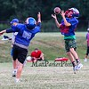 6th grader Dominic Mancini leaps for a pass with 7th grader Logan Brown running pass coverage at Tuesday's Warriors Veer Football Camp on 8-13-2019 @ Winnacunnet High School.  [Matt Parker/Seacoastonline]