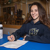 Winnacunnet senior Samantha LiPetri signs a letter of intent to run cross country and track for the Warriors of Merrimack College in the Fall of 2019 on signing day Monday 2-18-2019 @ WHS.  [Matt Parker/Seacoastonline]