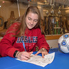 Winnacunnet senior Tess Rodgers signs a letter of intent to play soccer for the Bulldogs of DeSales University in the Fall of 2019 on signing day Monday 2-18-2019 @ WHS.  [Matt Parker/Seacoastonline]
