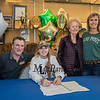 """Winnacunnet's Jenna Fiore signs a letter of intent to play Field Hockey with the Pioneers of Long Island University post in the Fall of 2019, with her parents Jim and Tricia and Nanna Peggy, photo taken on Wednesday """"signing day"""" 3-13-2019 @ WHS.  [Matt Parker/Seacoastonline]"""