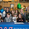 """Winnacunnet's Jenna Fiore with her friends.  Jenna signed a letter of intent to play Field Hockey with the Pioneers of Long Island University post in the Fall of 2019, photo taken on Wednesday """"signing day"""" 3-13-2019 @ WHS.  Matt Parker Photos"""