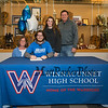 """Winnacunnet's Brennan Kittredge with his parents Amanda and Ned and sister Aidan who is a sophomore at UNH, Brennan signed a letter of intent to play soccer for the Monks of Saint Joseph's College in Maine in the Fall of 2019 photo taken on Wednesday """"signing day"""" 3-13-2019 @ WHS.  Matt Parker Photos"""