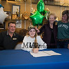"""Winnacunnet's Jenna Fiore signs a letter of intent to play Field Hockey with the Pioneers of Long Island University post in the Fall of 2019, with her parents Jim and Tricia and Nanna Peggy, photo taken on Wednesday """"signing day"""" 3-13-2019 @ WHS.  Matt Parker Photos"""