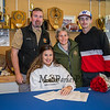 Winnacunnet Warriors Dailyn Annis with her parents Craig and Danielle with brother Brady as Dailyn signs a letter of intent to play field hockey in the Fall of 2019 for the Panthers of Adelphi University in Garden City, NY on signing day, Tuesday 4-30-2019 @ WHS.  [Matt Parker/Seacoastonline]