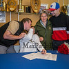 Winnacunnet Warriors Dailyn Annis with her parents Craig and Danielle with brother Brady as Dailyn signs a letter of intent to play field hockey in the Fall of 2019 for the Panthers of Adelphi University in Garden City, NY on signing day, Tuesday 4-30-2019 @ WHS.  Matt Parker Photos