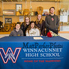 Winnacunnet Warriors Dailyn Annis with her friends (L to R) Vanessa Franciosa, Lauren Fowler, Dailyn, Audrey Canfield and Nolan Lindberg pose for a photo as Dailyn signs a letter of intent to play field hockey in the Fall of 2019 for the Panthers of Adelphi University in Garden City, NY on signing day, Tuesday 4-30-2019 @ WHS.  Matt Parker Photos