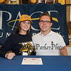 Mason MacDonald came to support his friend Elizabeth Kennedy as Elizabeth signs a letter of intent to swim with the Setters of Pace University of Westchester NY in their DII program in the Fall of 2019, on WHS's student athlete signing day on Wednesday 5-22-2019 @ WHS.  Matt Parker Photos