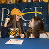 Winnacunnet's Elizabeth Kennedy with her friendKendra Hammond who came to support Elizabeth as she signs a letter of intent to swim with the Blue and Gold Setters of Pace University of Westchester NY in their DII program in the Fall of 2019, on WHS's student athlete signing day on Wednesday 5-22-2019 @ WHS.  Matt Parker Photos