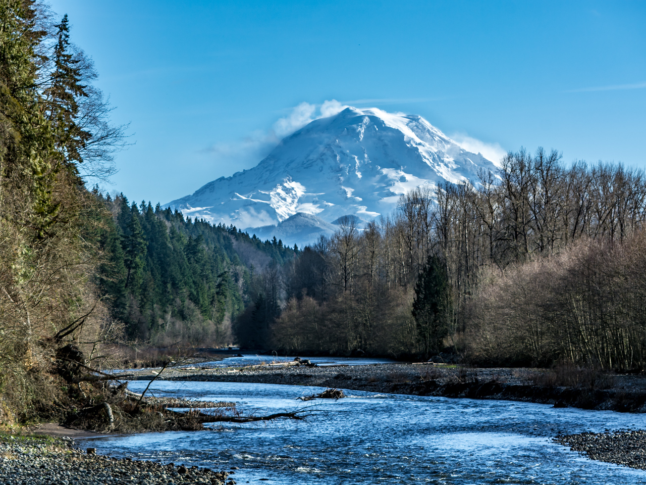 Mount Rainier Backdrops the Carbon River