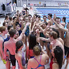 Members of the Winnacunnet Boys and Girls Swim Team give a team cheer after Wednesday's Boys and Girls practice at the Roger A. Nekton Championship Pool @ PEA on 11-30-2016.  Matt Parker Photos