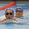 Winnacunnet Sophmore Melissa Rooney leads the way with So Shelby Nicholson following while swimming the breast stroke during Wednesday's Boys and Girls practice at the Roger A. Nekton Championship Pool @ PEA on 11-30-2016.  Matt Parker Photos
