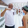 Winnacunnet's Swimming Coach Jim Patterson gives instruction to Freshman swimmer Annie Rademacher during Wednesday's Boys and Girls practice at the Roger A. Nekton Championship Pool @ PEA on 11-30-2016.  Matt Parker Photos