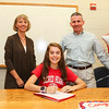Kelly Arsenault with parents Ellen and Bob sign a letter of intent to run Cross Country in the Fall of 2017 for the Pioneers of Sacred Heart University, Fairfield, CT on Wednesday 11-9-2016 @ WHS.  Matt Parker Photos