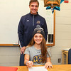 Meg Dzialo with parent Mike Dzialo sign a letter of intent to play Women's Lacrosse in the Fall of 2017 for the Warriors of Merrimack College, North Andover, MA on Wednesday 11-9-2016 @ WHS.  Matt Parker Photos
