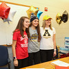 Kelly Arsenault:  Sacred Heart University Pioneers, Fairfield, CT for Women's Cross Country,  Meg Dzialo:  Merrimack College Warriors, North Andover, MA for Women's Lacrosse,  Abby Merrill:  Appalachian State University Mountaineers, Boon, NC for Women's Field Hockey sign letters of intent at their respective schools on Wednesday 11-9-2016 @ WHS.  Matt Parker Photos