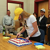 Abby Merrill cuts the celebration cake after signing a letter of intent to play Women's Field Hockey in the Fall of 2017 for the Mountaineers of Appalachian State University, Boon, NC  on Wednesday 11-9-2016 @ WHS.  Matt Parker Photos