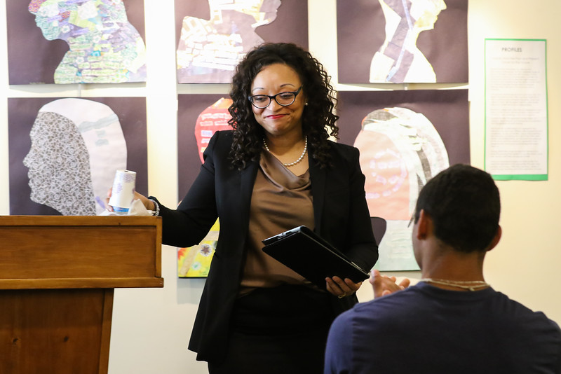 Lurenza McGhee speaks at the 2016 Juanita Bell Memorial Scholarship recipient Stephen Reid of York High School at the Seacoast African American Cultural Center on Sunday 6-12-2016, Portsmouth, NH.  Matt Parker Photos