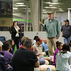 Dennis Mechem RCIS, Manager of the Cardiac Cath Lab at Exeter Hospital speaks to the students about the importance of CPR/AED education and training at Saturday's free CPR/AED training class sponsored by Exeter Hospital at Seacoast United Soccer Club, Hampton, NH on 6-4-2016.  Matt Parker Photos