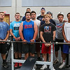 Winnacunnet Football players take a photo break during their morning preseason workout at the WHS Gym on Wednesday 7-6-2016 @ WHS.  Matt Parker Photos