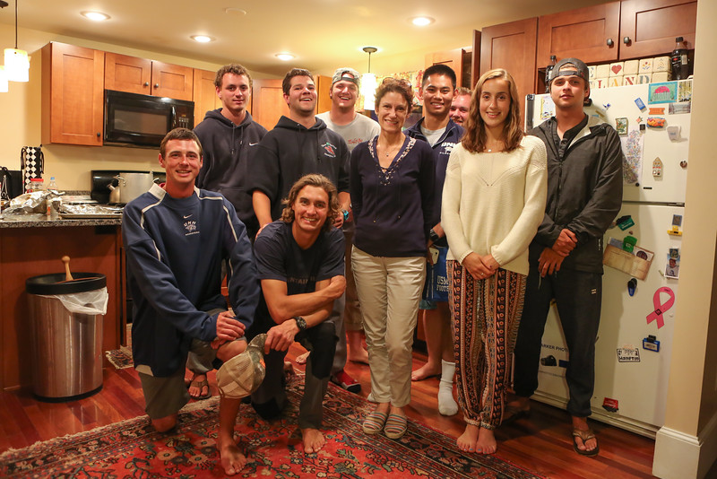 "Florence Le Gal our French guest poses for a photo with Bryce and Quinn's friends after Gary catches a 29"" Striped Bass with Michael, Ryan, Andrew, Quinn, IngHao, Casey, Bryce and Maddie on Saturday 7-9-2016, Hampton, NH.  Matt Parker Photos"