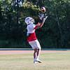 Winnacunnet Senior Liam Viviano makes a catch during Tuesday's Football Practice on 8-23-2016 at WHS.  Matt Parker Photos