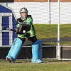 Winnacunnet's Sophmore Goal Keeper Nikki Tredwell knocks the ball down at Tuesday's Practice on 8-23-2016 at WHS.  Matt Parker Photos
