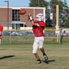 Winnacunnet Freshman Robert Withee runs a slant play making the catch during Tuesday's Football Practice on 8-23-2016 at WHS.  Matt Parker Photos