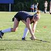 Winnacunnet's Senior Field Hockey Captain Abby Merrill takes a shot on the ball at Tuesday's Practice on 8-23-2016 at WHS.  Matt Parker Photos